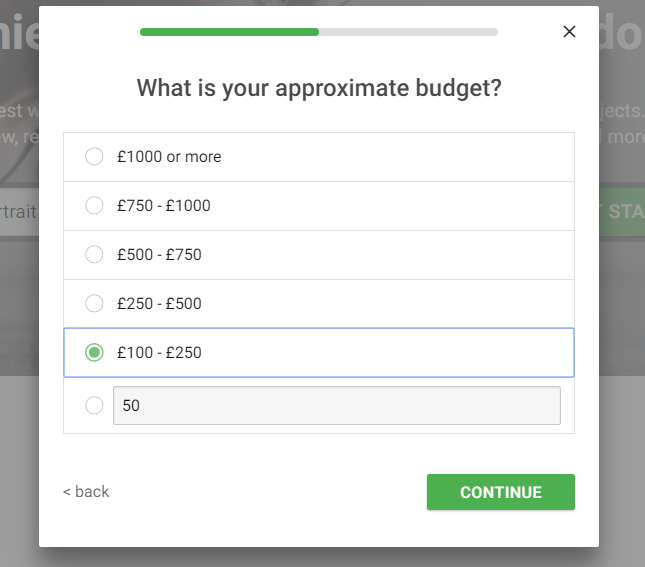 You can choose the options or add your budget below.
