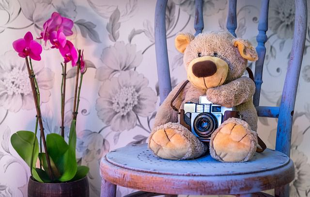 An old teddy bear with a camera on a blue chair, next to some flowers.