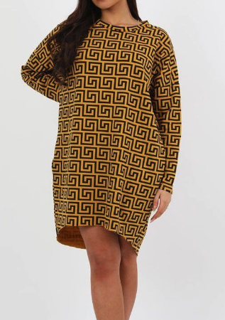 Mustard Geometric Print Oversized Jumper Dress