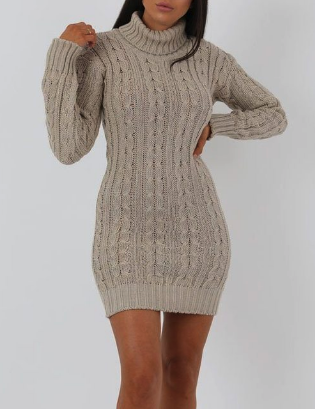 Stone Knit Turtle Neck Bodycon Mini Dress