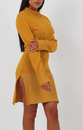 Mustard Side Split High Neck Ribbed Knit Dress