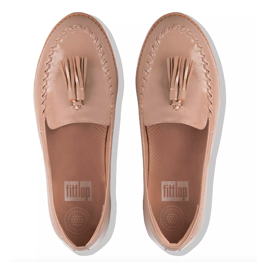 Nude PETRINA Crinkle-Patent Moccasin Loafers
