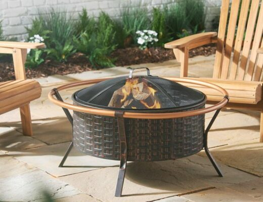 copper fire rim garden decor
