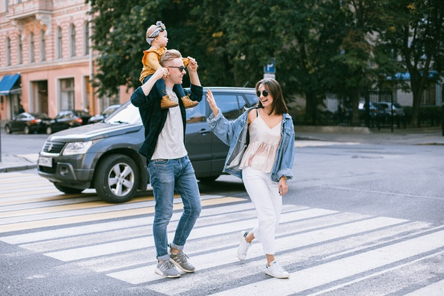 A family walking in the city
