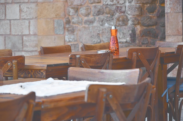 Chairs and tables in Greek taverna