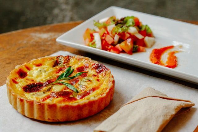 A delicious Quiche with beef and cheese filling