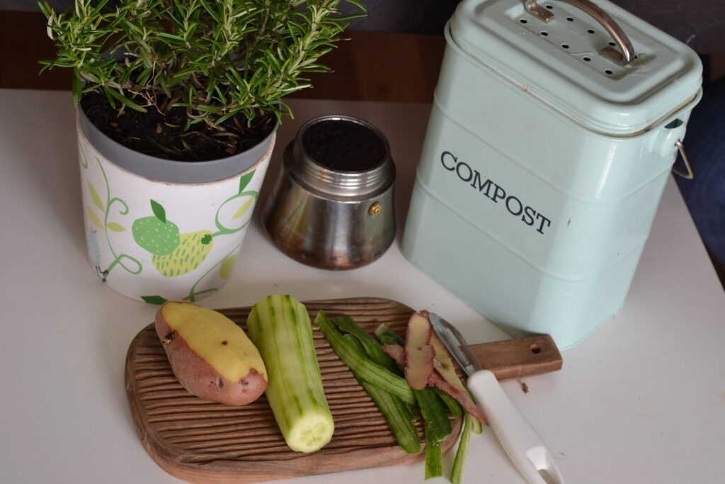 A flower pot with rosemary and some vegetables next to a composting box