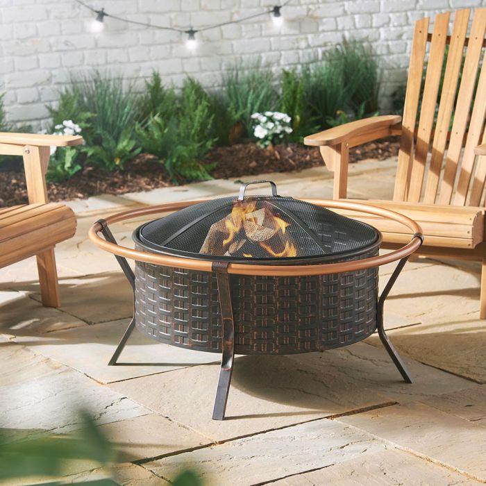 copper fire rim garden decor