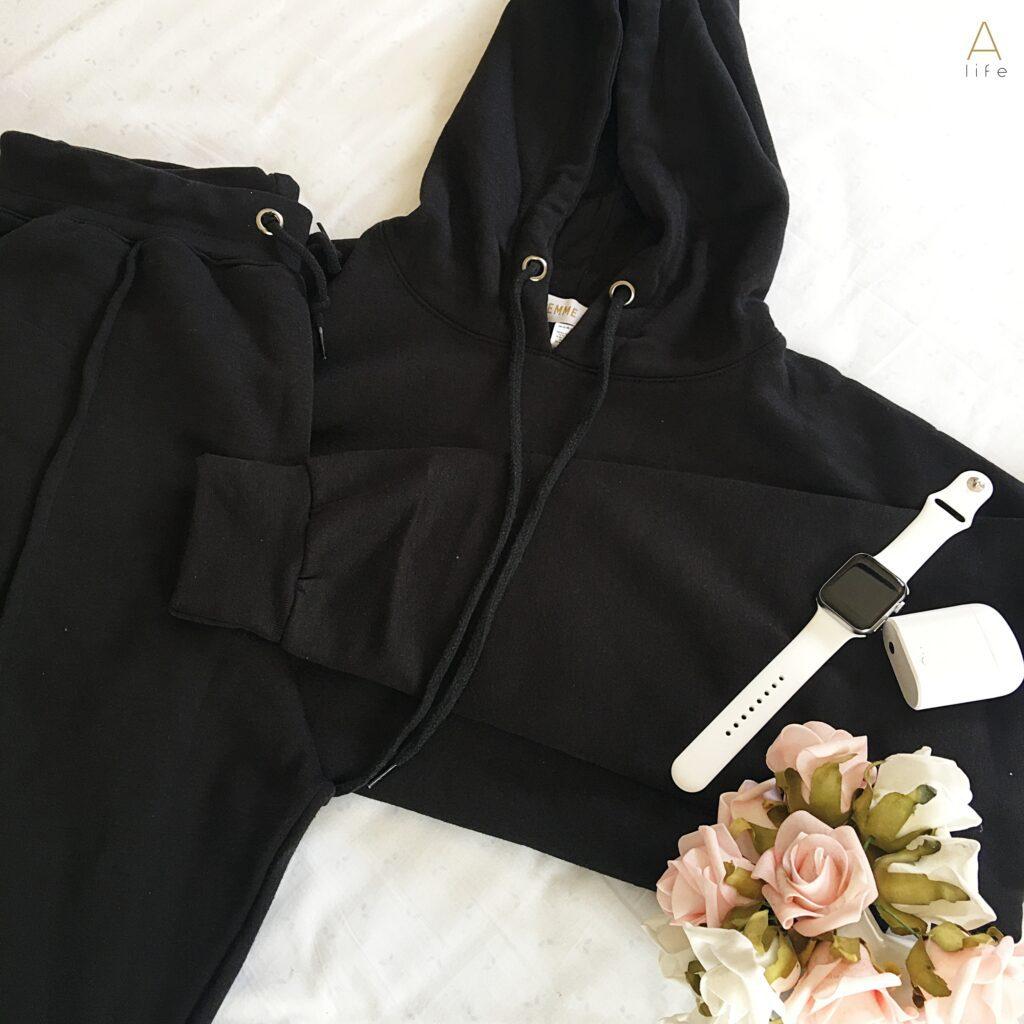 Black Boxy Cropped Hoodie Cuffed Joggers Loungewear Set